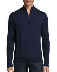 Saks Fifth Avenue | Blue Quarter-zip Merino Wool Sweater for Men | Lyst