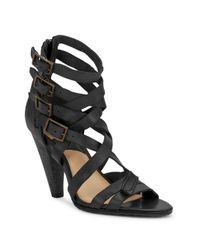 Frye | Black Mika Leather Strappy Sandals | Lyst