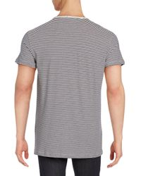 Baldwin Denim - Gray Striped Crewneck Tee for Men - Lyst