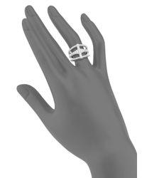 Judith Ripka | Metallic Bativia Diamond & Sterling Silver Open Ring | Lyst