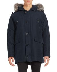 Michael Kors | Blue Arctic Fox Fur-trimmed Parka for Men | Lyst