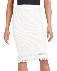 Catherine Malandrino | White Fringe Knit Midi Skirt | Lyst