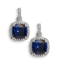 Judith Ripka | Blue Corundum, White Sapphire & Sterling Silver Square Drop Earrings | Lyst