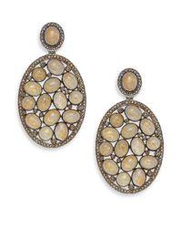 Bavna - Metallic 2.65tcw Diamonds, Quartz And Sterling Silver Drop Earrings - Lyst