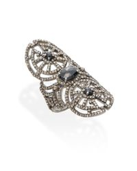 Bavna - 2.13 Tcw Champagne Rose Cut Diamonds, 1.39 Ct Black Spinel & Sterling Silver Ring - Lyst