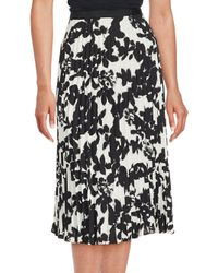 Karl Lagerfeld | Black Accordion Pleated Floral Skirt | Lyst