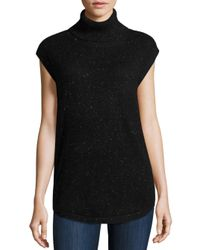 Saks Fifth Avenue Black Label - Black Textured Cashmere Top - Lyst