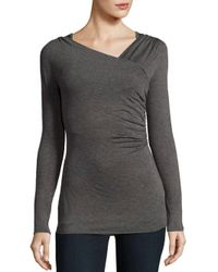 Bailey 44 - Gray Solid Wrap Tee - Lyst