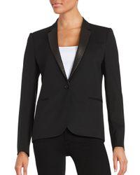 The Kooples - Black Contrast Trimmed Stretch-wool Jacket - Lyst