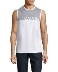 Calvin Klein White Colorblock Tank for men