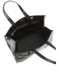 Halston - Black Solid Leather Convertible Crossbody Tote - Lyst