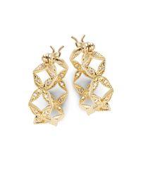 Mizuki | Metallic Sea Of Beauty Diamond & 14k Gold Hoop Earrings- 0.75in | Lyst