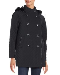 Jane Post | Black Faux Fur Hooded Double-breasted Coat | Lyst