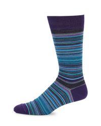 Saks Fifth Avenue - Blue Striped Merino Wool-blend Mid-calf Socks - Lyst