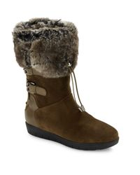 Aquatalia | Brown Weslyn Suede & Faux Fur-lined Boots | Lyst