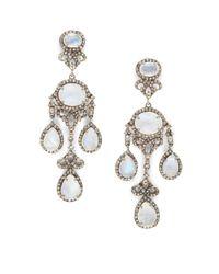 Bavna | Metallic Diamond, Moonstone & Sterling Silver Earrings | Lyst