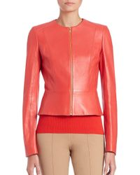 Michael Kors - Red Plonge Fitted Leather Jacket - Lyst