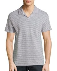 Saks Fifth Avenue | Gray Striped Linen-blend Polo for Men | Lyst