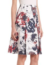 Carolina Herrera - Black Roses & Dots Cloque Skirt - Lyst