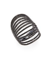 Noir Jewelry | Black Cubic Zirconia Layered Ring | Lyst