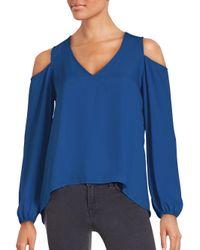 Saks Fifth Avenue | Blue Solid V-neck Top | Lyst