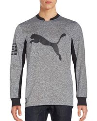 PUMA - Gray Long Sleeve Crewneck Pullover for Men - Lyst