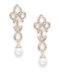 Cara | Metallic Studded Geo Drop Earrings | Lyst