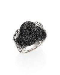 John Hardy - Metallic Classic Chain Black Sapphire & Sterling Silver Large Braided Ring - Lyst