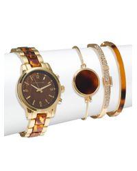 Adrienne Vittadini | Multicolor Tortoise Shell Bracelet Watch & Bangle Bracelet Set | Lyst
