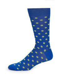 Saks Fifth Avenue | Blue Printed Cotton Blend Socks for Men | Lyst