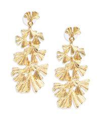 Kenneth Jay Lane   Metallic Floral Drop Earrings   Lyst