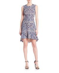 BCBGMAXAZRIA | Blue Chrystal Zip-front Burnout Lace Dress | Lyst