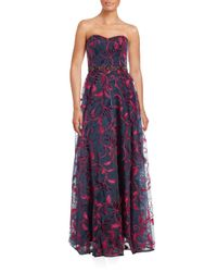 Notte by Marchesa | Blue Marchesa Floral Embroidered Gown | Lyst