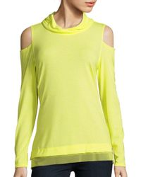 Nanette Lepore   Yellow Cold Shoulder Heathered Top   Lyst