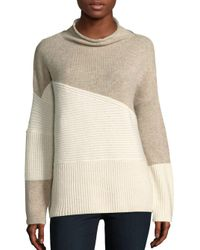 French Connection | Natural Patchwork Tonal Wool-blend Sweater | Lyst