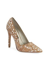 Alice + Olivia | Natural Dina Three Laser-cut Cork Pumps | Lyst