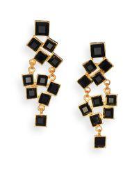 Kenneth Jay Lane | Square-cut Cluster Chandelier Earrings/black | Lyst