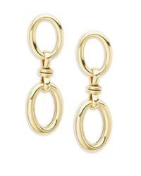 Roberto Coin - Metallic Basic Gold 18k Yellow Gold Double Oval Drop Earrings - Lyst