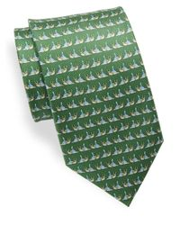 Ferragamo | Green Printed Silk Tie for Men | Lyst