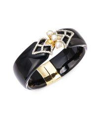 Alexis Bittar | Black Lucite, Faux Pearl, Swarovski Crystal & 10k Yellow Gold Hinged Bracelet | Lyst