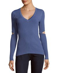 BCBGMAXAZRIA | Blue V-neck Knit Sweater | Lyst