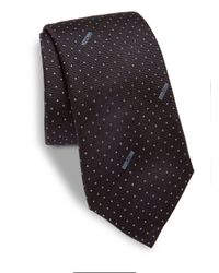 Moschino | Blue Dotted Logo Silk Tie for Men | Lyst