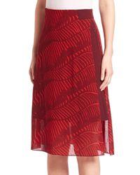 Akris Punto - Red Printed Wool A-line Skirt - Lyst