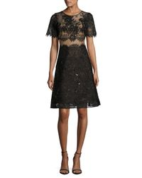 Notte by Marchesa | Black Semi-sheer Lace-overlay Dress | Lyst