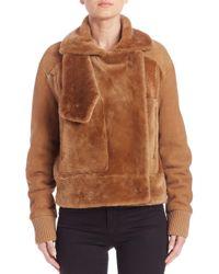 Tibi - Brown Shearling Aviator Jacket - Lyst