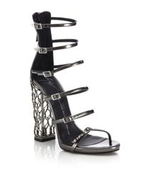 Giuseppe Zanotti | Black Metal Cage Heel Strappy Leather Sandals | Lyst