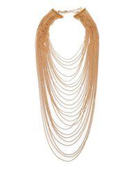 ABS By Allen Schwartz | Metallic Multi-row Draped Ball Chain Necklace | Lyst