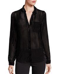 PAIGE - Black Linara Striped Velvet Blouse - Lyst