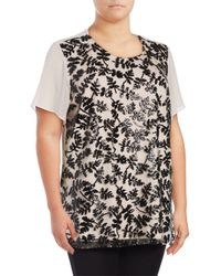 Chaus New York - Black Short Sleeve Sequined Embroidered Blouse - Lyst