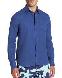 Vilebrequin - Blue Linen Button-down Shirt for Men - Lyst